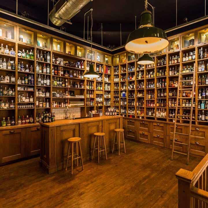 Interior of liquor store