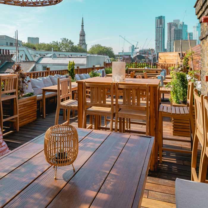 View of east London from TT Liquor's garden roof terrace